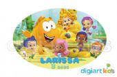 Placa Oval 70x40cm - Bubble Guppies